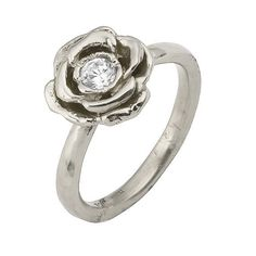 Loooooove!!!!  Vintage Diamond Rose Flower Engagement Ring in 18k White Gold. $900.00, via Etsy.