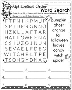 Halloween Word Search and Alphabetical Order Worksheet for First Grade.