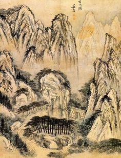 (Korea) 백천동 in Mt Geumgang by Gyeomjae Jeong Seon ca century CE. color on paper. Korean Painting, Chinese Painting, Asian Artwork, Modern Pictures, Korean Art, Wow Art, Art Template, Art Object, Landscape Paintings