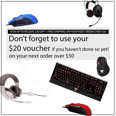 Your $20 Voucher is waiting for you!! Make sure to check out our sale section, you will find good deals!  #GAMDIAS #gamdias #gaming #headsets #mice #keyboards