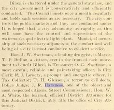 """J. R. Harkness – Biloxi Street Commissioner 1902 Biloxi, Harrison, Mississippi, USA Twentieth century coast edition of the Biloxi Daily Herald … historical and biographical: """"one of the oldest and most respected citizens"""""""