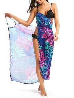 Tropical Leaf Cover Up Slip Dress in 2xl | Sammydress.com