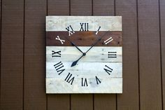 Large Wall Clock, Reclaimed Pallet Wood Custom. Choose Paint Or Stain…