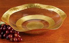 Gold Leaf Plated Wave Border Crystal Glass Bowl | 84D723G. 19 inch Crystal Glass Wave Bowl. Hand painted with Genuine Antique Gold Pattern.