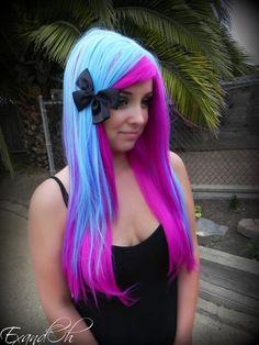20% OFF SALE Neon Purple and Aqua Blue / Long Straight Layered Wig