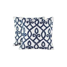 NOVICA Set of Two Blue and White Embroidered Square Cushion Covers (325 MAD) ❤ liked on Polyvore featuring home, home decor, throw pillows, cushion covers, pillows & throws, white, white accent pillows, blue and white throw pillows, embroidered throw pillows and twin pack