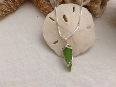 Green sea glass pendant on sterling silver chain by WaterSpirits Jewelry