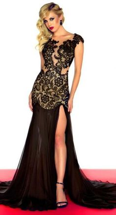 Mac Duggal pageant dress (42954P). This dress features cap sleeves ...