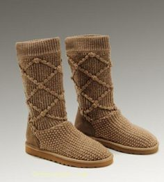 UGG Classic Argly Knit 5879 Boots Chestnut For Sale In UGG Outlet Save more than $100, Free Shipping, Free Tax, Door to door delivery