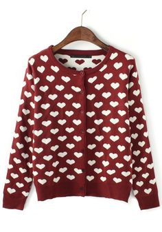Red Love Print Round Neck Loose Knit Cardigan