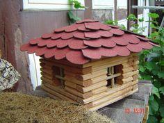 Vogelhaus, Blockhaus für Vögel Bauanleitung zum selber bauen