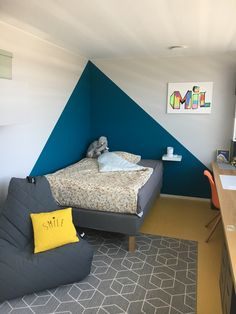 I quite like this beautiful boys bedroom sports Boys Bedroom Colors, Boys Bedroom Paint, Boys Bedroom Decor, Girls Bedroom, Living Room Decor, Bedrooms, Bedroom Wall Designs, Room Color Schemes, New Room