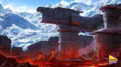 Ice & Lava city of Dwerg. SolarWind, Plawius.  Play with us on ArtStation at http://www.artstation.com/artwork/ice-lava-city-of-dwerg-solarwind