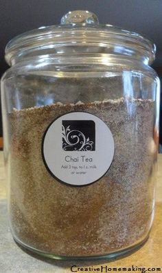 Chai Tea Spices:  4 tsp. ground cinnamon, 1 tsp. ground nutmeg, 1 tsp. ground all spice, 1 tsp. ground ginger, 1/2 tsp. ground cloves, 1/2 tsp. turmeric, 1/4 tsp. pepper