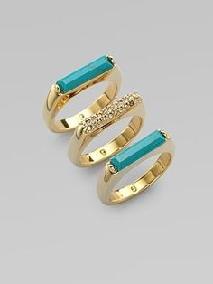 Stone  Turquoise Stacked Rings