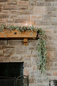 Chandler Hill Vineyards wedding. Eucalyptus runner on mantle.