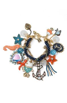 Betsey Johnson 'Under the Sea' multi-charm toggle bracelet. Love Betsey and love the naval theme. Nautical Bracelet, Nautical Jewelry, Diy Jewelry, Jewelry Box, Jewelry Accessories, Fashion Accessories, Fashion Jewelry, Jewellery, Nautical Style