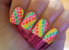 DIY Nails Art :DIY Neon Nails Art : Neon Dot Nails.