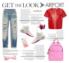 """""""Get the Look: Celebrity Airport Style"""" by krischigo ❤ liked on Polyvore featuring Moschino, MSGM, Kate Spade, Casetify, COVERGIRL, Chanel and celebairportstyle"""