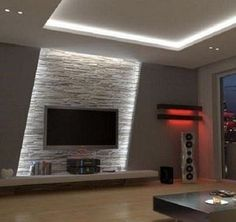 Wohnzimmer Tv Wand Design - - Albyna F - Soaking Tubs Home Lighting Design, Ceiling Design, Wall Design, House Design, Design Design, Lighting Concepts, Design Ideas, Interior Lighting, Modern Design
