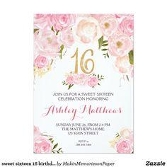 Sweet Sixteen 16 Birthday Floral Invitation