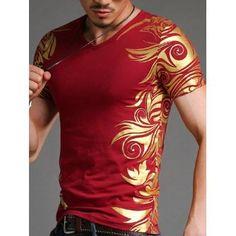 Slimming V-Neck Golden Totem Pattern Short Sleeves T-Shirt For Men ab1490178fe0