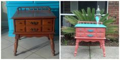 My coral and turquoise antique table with spindles. Stamped underneath with 1969. Poly finish with hardware update. This piece is perfect for Londyn's room.  Before and after