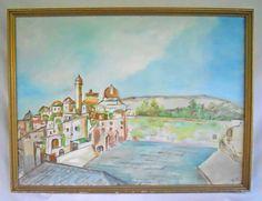 Vintage Original Painting North Africa Algeria Arab Village Mosque Minaret Landscape by divebackintime on Etsy https://www.etsy.com/listing/474995999/vintage-original-painting-north-africa
