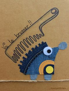 Va te brosser !! #jeans #recycle fleurysylvie / www.toutpetitrien.ch Hand Embroidery Designs, Applique Designs, Jean Crafts, Diy And Crafts, Denim Art, Work With Animals, Wool Applique, Felt Ornaments, Kids Cards