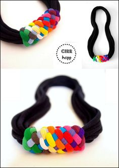 Upcycled BASIC fiber rainbow necklace/Recycled/Handmade colorful/Repurposed material/Soft/Eco friendly/Jersey stripes