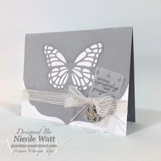 By Nicole Watt; Butterfly Thinlits, Petite Pairs. Butterfly Thinlits are back in stock! Click through for details! @PMRetreat #stampinup #sympathy