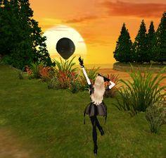 Foi tirada no IMVU: mostra uma Avatar ( ZxJoyni ) que está perto do lago ao crepusculo.