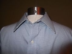 Ralph Lauren Non-Iron Dress Shirt Blue w White & Black Checked Size 16.5 34/35  $29.95
