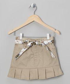 Look what I found on #zulily! Khaki Plaid Belted Pleated Skirt - Girls by Eddie Bauer #zulilyfinds