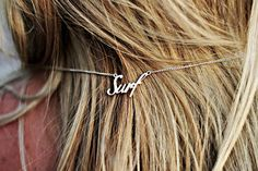 """""""Surf"""" sterling silver necklace handmade in Bali Must have if you love surfing…"""