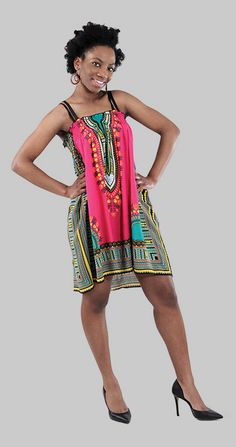 Traditional Print Babydoll Dress perfect for cocktail parties or going out with the girls. Bright pink and turquoise with African traditional pattern and a soft flowing feel. This sleek cocktail dress is cute and stylish! #fashion #dress #cocktaildress #party #wearit #style #dressup #AfricanFashion