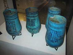Cosmetic Jars, Egypt    These might appear to  be  conventional canpoic jars, constructed of blue fiance and bearing the name of Rameses II, but they are in fact testament to the Ancient Egyptian's love of keeping up appearances. These seemingly ordinary jars have an interesting back story behind them, they arrived in the Louvre in 1905 and seemed to contain embalmed organs including a trace of what appeared to be heart tissue.