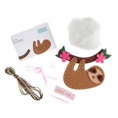 Picture of Felt Decoration Kit: Sloth Felt Decorations, Craft Kits, Step By Step Instructions, Sloth, Ornament, Shapes, Crafts, Decoration, Manualidades