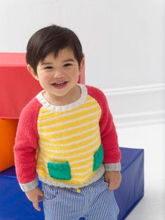 Ravelry: Crisp Color Pullover pattern by Amy Ross (love these bright colors) Kids Knitting Patterns, Knitting For Kids, Free Knitting, Knitting Projects, Kids Patterns, Craft Projects, Lion Brand Patterns, Knit Baby Sweaters, Aran Weight Yarn