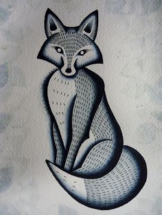 Inspiration: Traditional American Tattoo Style Original Ghostly Fox Watercolor Painting Print Poster 8x10