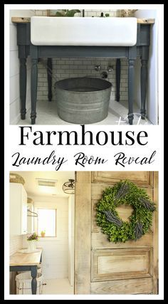 This farmhouse laundry room makeover is the bees knees.