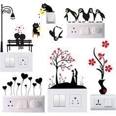 Decals Creation Switch Board Sticker Switch Stickers Wall Stickers Light Switch Stiker out of 5 stars 143 9494 550550 Save 456 Get it Monday March 30 - Tuesday March 31 Simple Wall Paintings, Creative Wall Painting, Wall Painting Decor, Creative Walls, Diy Wall Art, Diy Painting, Wall Decor, Room Stickers, Wall Stickers Murals