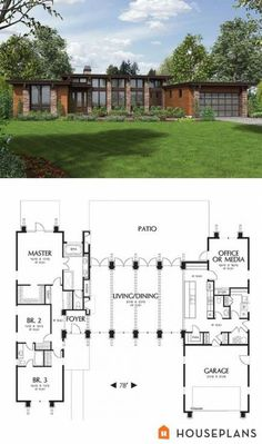Warm, modern house plan and front elevation. 2557 sft Plan - Warm, modern house plan and front elevation. 2557 sft Plan Informations About Warm, modern h - Modern House Floor Plans, Contemporary House Plans, Dream House Plans, Modern House Design, Modern Houses, Modern Lake House, Contemporary Style, The Plan, How To Plan