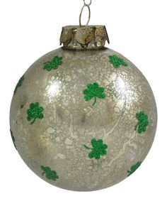 Take a look at this KD Vintage Glitter Shamrock Ball Ornament by KD Vintage on #zulily today!