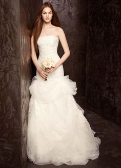 Strapless Tulle and Organza Fit and Flare Gown - David's Bridal- mobile