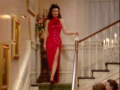 Fran Drescher in the Nanny and she certainly knows how to make an entrance!!!!! This is from thefirst episode. Talk about setting the bar high.