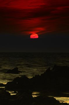"""Mysterious.  (The LOTR line: """"A red sun rises. Blood has been spilt this night"""" just popped into my head :)"""