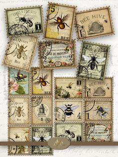 Junk Journal, Journal Ideas, Journal Labels, Bullet Journal, Journal Inspiration, Vintage Bee, Vintage Style, Vintage Decor, Bee Images