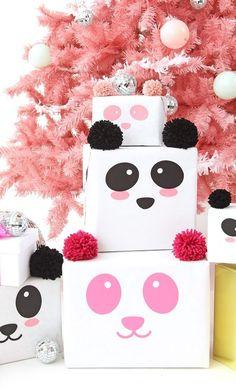 Idea para envolver regalos, diseño panda para tus envoltorios. Una forma creativa, simpática y original de envolver los regalos de grandes y pequeños.