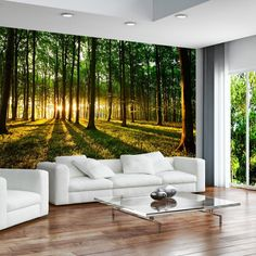 Wallpaper 350x245 cm ! 3 colours to choose - Non-woven - Top - Murals - Wall - Mural - Photo - modern - Free glue for each wallpaper - Sunshine forest nature landscape c-B-0027-a-b: Amazon.co.uk: Kitchen & Home